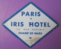 HOTEL AUBERGE RESIDENCE IRIS CHAMP MARS PARIS FRANCE DECAL STICKER LUGGAGE LABEL ETIQUETA ETICHETTA ETIQUETTE AUFKLEBER - Hotel Labels