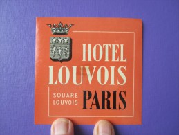 HOTEL AUBERGE RESIDENCE LOUVOIS DECAL PARIS FRANCE STICKER LUGGAGE LABEL ETIQUETA ETICHETTA ETIQUETTE AUFKLEBER - Hotel Labels