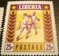 Liberia 1955 Sports Boxing Airmail 25c - Mint - Liberia
