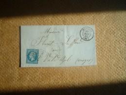 Lettre  Pour Le Val D´Ajol Affranchie N°14 Oblitération PC 1952 Et Cachet à Date Melizey - 1849-1876: Classic Period