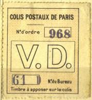 Briefstück Der Colis Postaux De Paris Pour Paris Maury N° 33 Avec Fragment - Colis Postaux