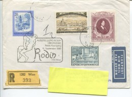 Austria - Air Mail R-letter Wien  (393) Rodin Ausstellung Postmark - Autres