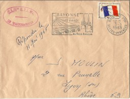 FRANCHISE MILITAIRE  TIMBRE  POSTE CACHET POSTAL C.I./1ER RPIMA BAYONNE 1965 - Franchise Militaire (timbres)