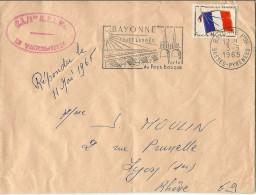 FRANCHISE MILITAIRE  TIMBRE  POSTE CACHET POSTAL C.I./1ER RPIMA BAYONNE 1965 - Franchigia Militare (francobolli)
