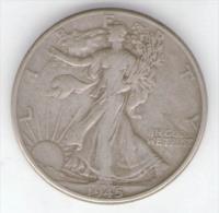 STATI UNITI HALF DOLLAR 1945 AG SILVER - 1916-1947: Liberty Walking (Libertà Che Cammina)