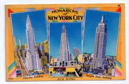 Monarchs Of New York City, Chrisler Building, R.C.A., Empire State, 1950, Acacia Card Company N° 80, Scan Recto-verso - Multi-vues, Vues Panoramiques