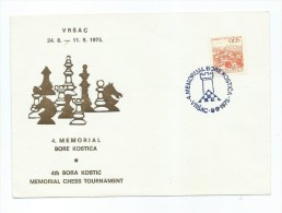 4th Bora Kostic Memorial Chess Tournament 1975 Vrsac Stamp,envelope - Schaken