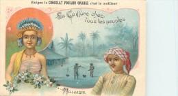Chromo Chocolat Poulain Orange - Malaisie Pays D'Asie Du Sud-Est Les Malais - Série De 25 Sujets N° 6 - Texte Au Dos - Poulain