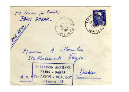 PREMIER VOL  PARIS - DAKAR  19/02/1953 - Airmail