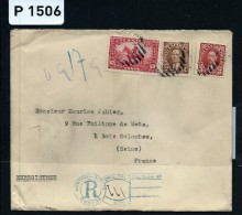 CANADA - LETTRE RECOMMANDEE POUR LA FRANCE 1937     A VOIR - Cartas