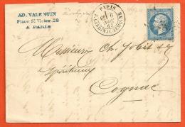 Lettre Ob. Etoile 28 Paris R. Cardinal Lemoine Pour COGNAC 1863 - 1849-1876: Période Classique