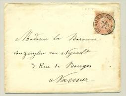 België - 1895 - Briefje Van Beauraing Naar Een Barones In Namur - 1893-1800 Fijne Baard