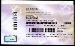 """SCORPIONS """"The Final Sting Tour"""" 2012 - Zénith De Pau - Tickets De Concerts"""