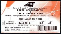 """BRUCE SPRINGSTEEN - Tournée """"Wrecking Ball"""" - Paris-Bercy 5/07/2012 - Tickets De Concerts"""