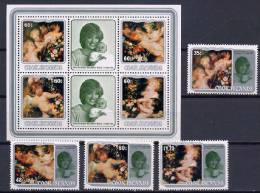 Cook Islands 1982 Paintings Rubens, Princess Diana Set Of 4 + S/s MNH - Rubens