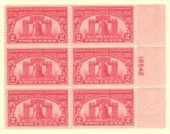 USA SC #627 MH PB6 1926 Sesquicentennial Exposition - Plate Blocks & Sheetlets