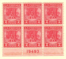 USA SC #645 MH PB6 1928 Valley Forge #19493 W/band Of Gum Along B Selv, CV $25.00 - Plate Blocks & Sheetlets