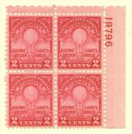 USA SC #655 MNH PB4 1929 Electric Light #19796 Rotary Press, CV $55.00 - Plate Blocks & Sheetlets