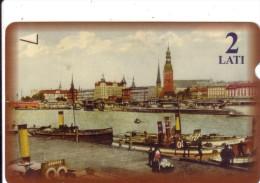LETTONIE RIGA PORT HARBOR OLD CARD 2 LATI UT - Latvia