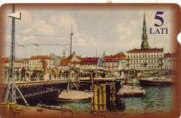 LETTONIE RIGA PORT HARBOR OLD CARD 5 LATI UT - Latvia