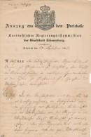 RINTELN - 1865 , Auszug Aus Dem Protokoll Der Kurfürstlichen Regierungs-Commisssion Der Grafschaft Schaumburg - Gesetze & Erlasse