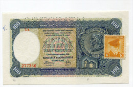 "Slovaquie Slovakia 100 Korun 1940 """" SPECIMEN """" UNC STAMP Czechoslovakia - Slovaquie"