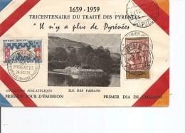 Histoire De France -Traité Des Pyrénées( Document Français De 1959 En Premier Jour Numéroté 93 Sur Un Tirage De 100) - Histoire