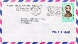 Jamaica 1970 Postal Cover Kingston - Frankfurt A/Main (Germany) Paul Bogle National Hero - Jamaique (1962-...)