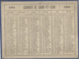 Calendrier 1880 15 X 20 Cm - Calendriers