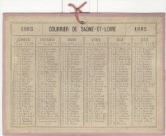 Calendrier 1885 15 X 20 Cm - Calendriers