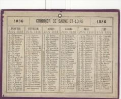 Calendrier 1886 15 X 20 Cm - Calendriers