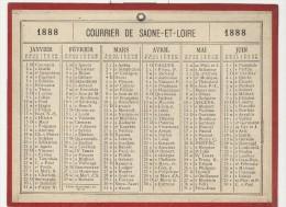 Calendrier 1888 15 X 20 Cm - Calendriers