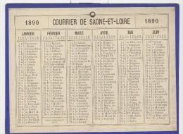 Calendrier 1890 15 X 20 Cm - Calendriers