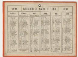 Calendrier 1891 15 X 20 Cm - Calendriers