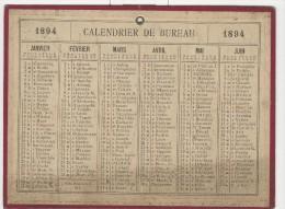 Calendrier 1894 15 X 20 Cm - Calendriers
