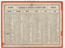 Calendrier 1896 15 X 20 Cm - Calendriers