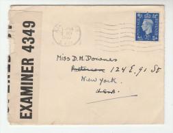 1940  GB CENSOR COVER Stamps KENSINGTON  To USA  Censored - 1902-1951 (Kings)