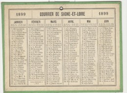 Calendrier 1899 15 X 20 Cm - Calendriers