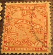 Cuba 1914 Map Of Cuba 2c - Used - Cuba