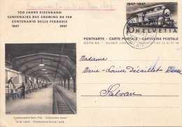 HELVETIA 1947 - 10 C Ganzsache Auf Bildpostkarte 100 Jahre Eisenbahn