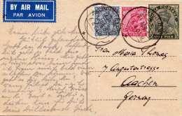 INDIA 1938 - 9 Pies Ganzsache + 2 ZF Auf Pk LP V. Delhi > Aachen - Indien
