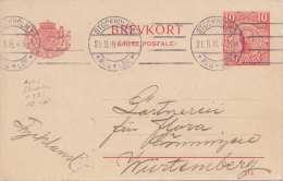 SCHWEDEN 1916 - 10 Öre Ganzsache Auf Pk V.Stockholm > Gönningen? - Postal Stationery