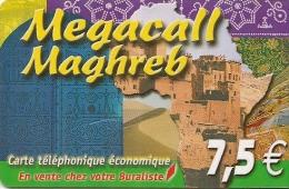 CARTE-PREPAYEE-DELTA-MULT IMEDIA-MEGACALL-7 .5€-MAGHREB-30/06/2006-PLA STIC Epais-TBE     - - Autres Prépayées