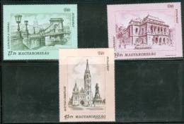 HUNGARY - 1993. Sights Of Budapest/Chain Bridge/Opera/Matthias Church Cpl.Set MNH!! Mi 4270-4272 - Hongrie