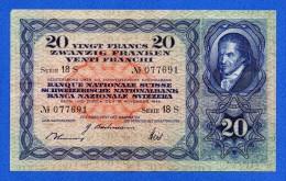 Switzerland 20 Franken / Francs 1944 P39n Johann Pestalozzi AVF - Svizzera