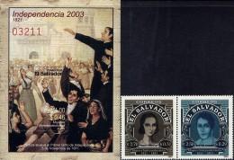 EL SALVADOR INDEPENDENCE 182nd ANNIV Sc 1583-4 MNH 2003 - El Salvador