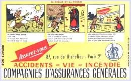 BUVARD   Compagnies D´Assurances Generales La Cigale Et La Fourmi - Buvards, Protège-cahiers Illustrés
