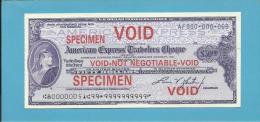 50 DOLLARS - U.S. DOLLAR TRAVELLERS CHEQUE - SPECIMEN - American Express - 2 Scans - Chèques & Chèques De Voyage