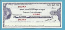100 FRANCS - CHEQUE De VOYAGE En FRANCS FRANÇAIS - SPECIMEN - American Express - 2 Scans - Cheques En Traveller's Cheques