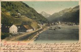 SWITZERLAND - GRUSS AUS FLUELEN - LITHO - SEA, TOWN, COUNTRYSIDE - PM 1906 - STAMPS ON BACK - VINTAGE ORIGINAL POSTCARD - UR Uri